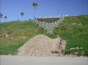 Deputy Engineer Vince Jones describes a 'bulkhead' as a retaining wall system commonly used to stabilize - or hold back and support - slopes.  Engineers show in this digitally enhanced image what has been designed to repair the slope damage along Vista del Mar in Playa del Rey.